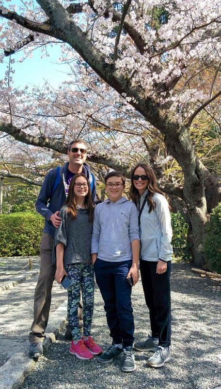 In front of a big cherry tree in full bloom at Hokokuji Temple
