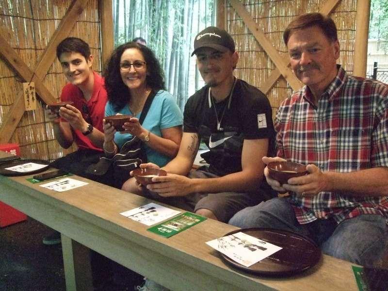 Enjoying matcha greentea at a teahouse of The Bamboo Temple