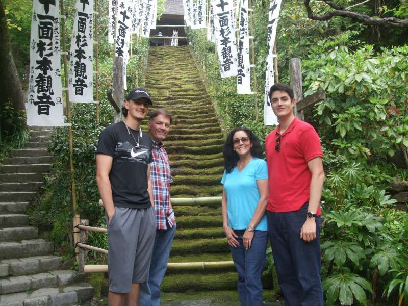 The moss-covered stone stairs at Kamakura's oldest temple,  Sugimoto Temple