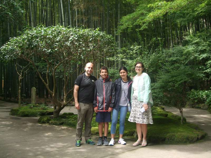 Enjoying  the quiet and peaceful bamboo grove at Hokokuji Temple