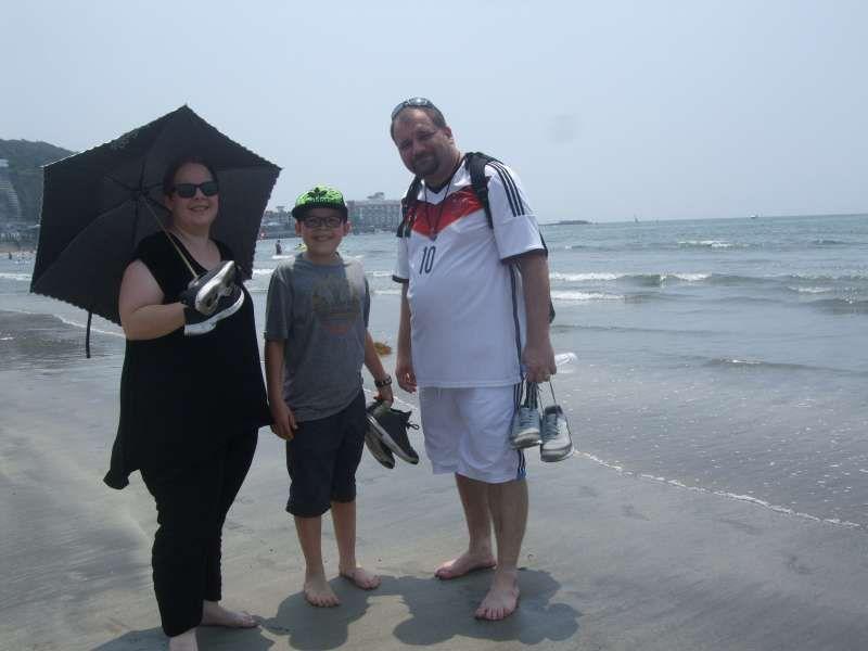 Starting our beach walk at Zaimokuza Beach
