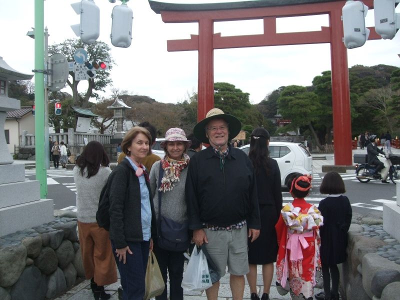 In front of the third torii gate of Tsurugaoka Hachiman Shrine