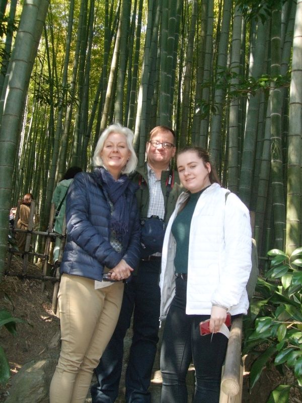 At the entrance of the bamboo grove in Hokokuji Temple