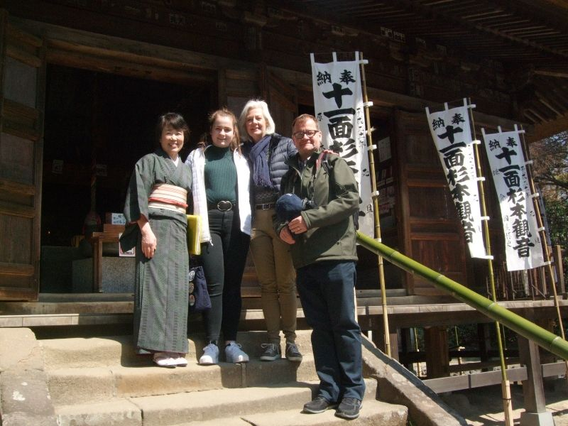 All of us in front of the main hall of Sugimoto Temple