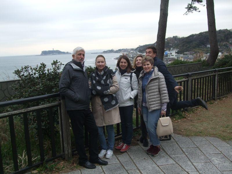 On top of Inamuragasaki Cape with Enoshima Island in the far back