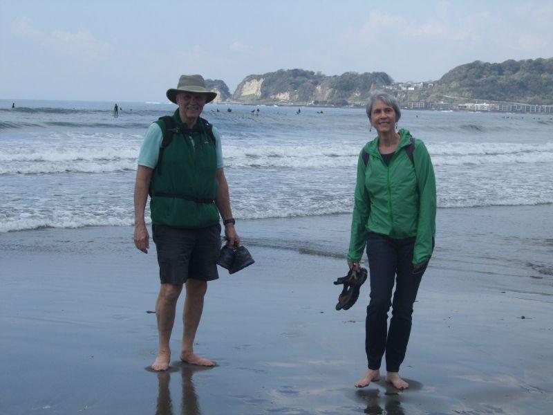 Enjoying beach walk at Zaimokuza Beach