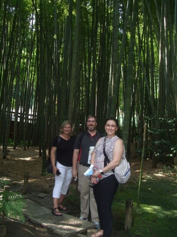 In front of the bamboo grove at Hokokuji Temple