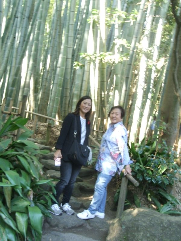 In the bamboo forest at Hokokuji Temple