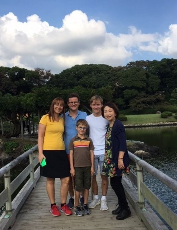 A lovely family from Swiss, at Hamarikyu Garden, Oct. 2018