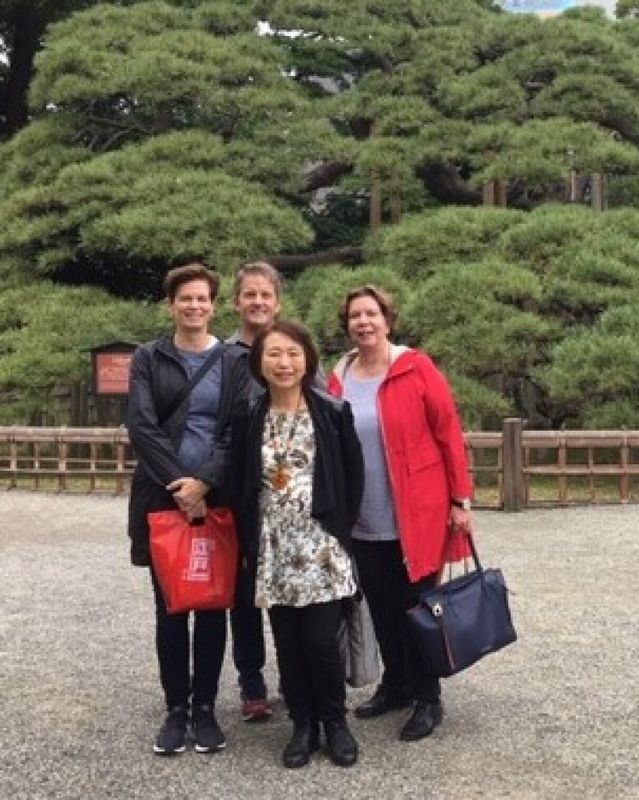 A lovely guest group from U.S.A., at Hamarikyu Japanese Garden, Oct. 2018