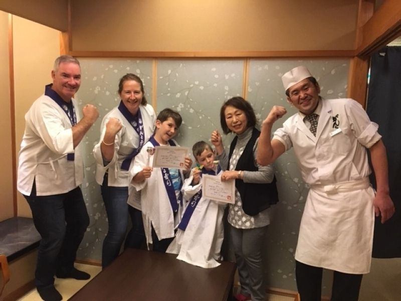 A sweet family from Australia at Sushi Making Class, January 2019