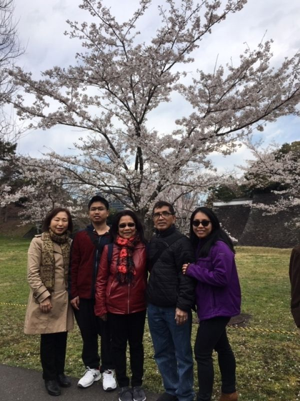 A wonderful family from Michigan, U.S.A, at Inui street of Imperial Palace, April 2019