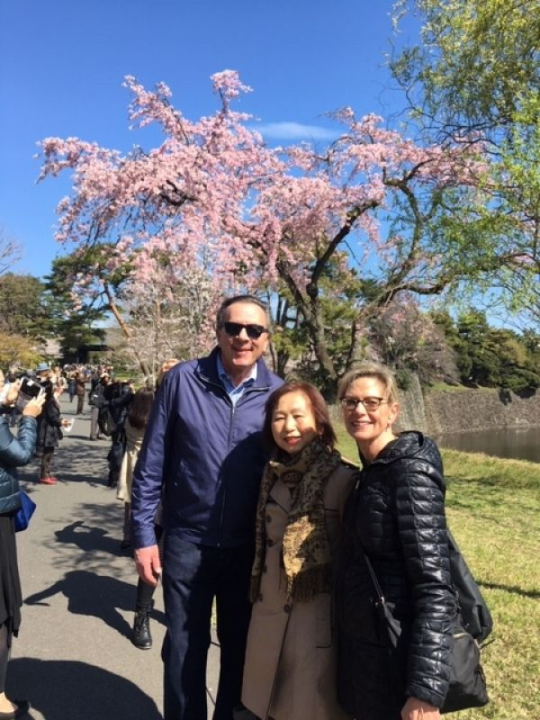 A wonderful couple from Michigan, U.S.A. at Inue Street of Imperial Palace, April 2019