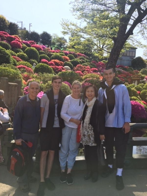 A wonderful family from Sydney, Australia, at Nezu Shrine, April 2019.