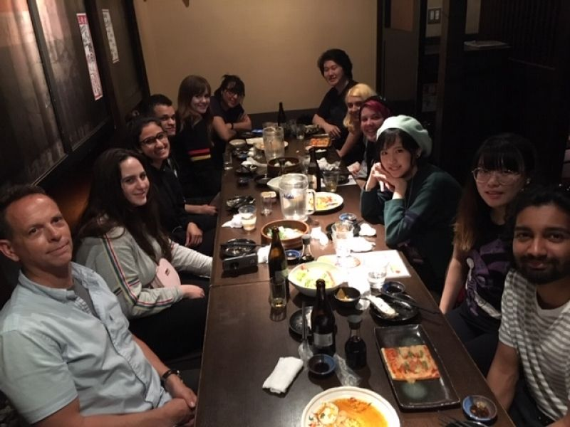 Otis College of Arts students from California, U.S.A., at Welcome party, May 2019