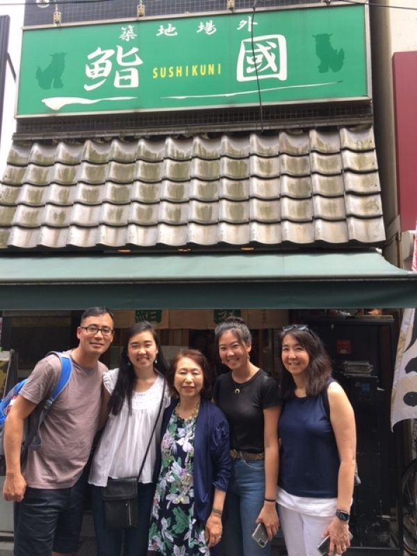 A sweet family from Pennsilvania, U.S.A., at Tsukiji Sushi Restaurant, June 2019