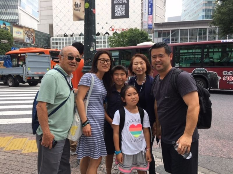 A wonderful family from California, U.S.A., at Shibuya crossing, June 2019