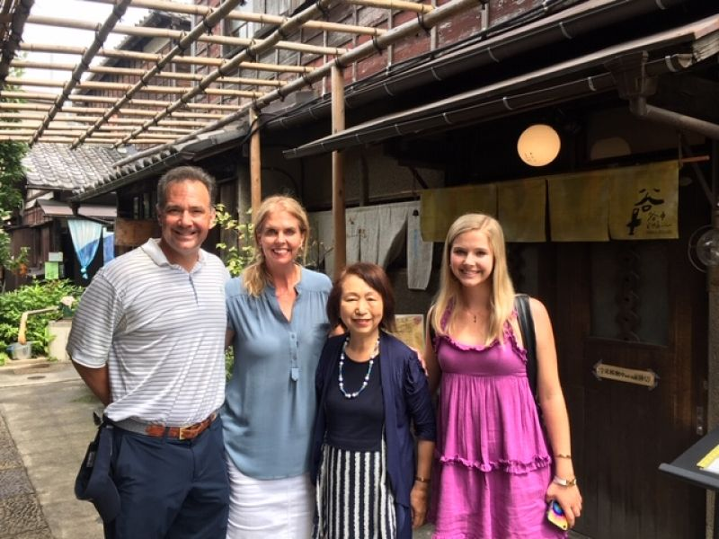 A lovely wonderful family from Dallas, U.S.A., at Yanaka old house restaurant, July 2019