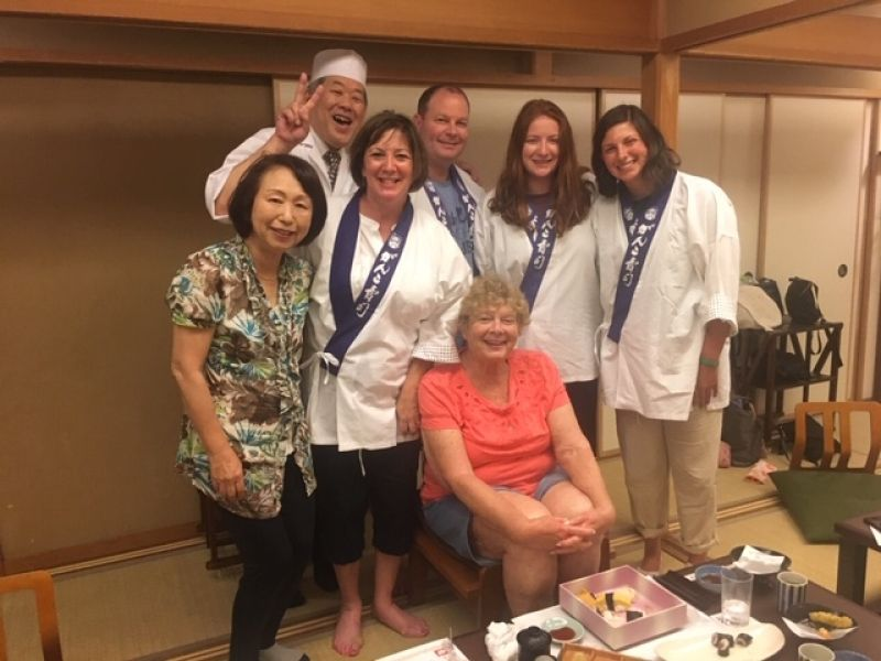 A wonderful family from Illinois, U.S.A., at Sushi making workshop, July 2019