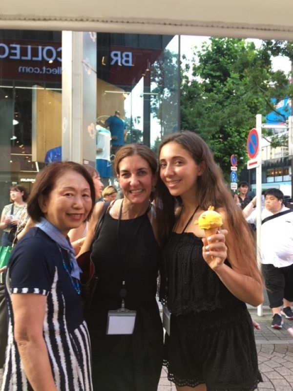 A sweet family from New York, U.S.A., at Harajuku, Aug. 2019