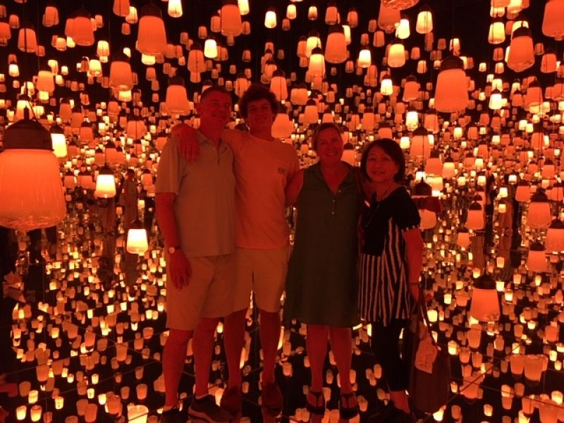 A wonderful family from New York, U.S.A., at Mori Digital Museum, Aug. 2019