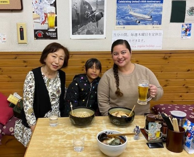 A sweet lady with her niece from Guam, U.S.A.  We had a nice time in Narita, Jan. 2020.
