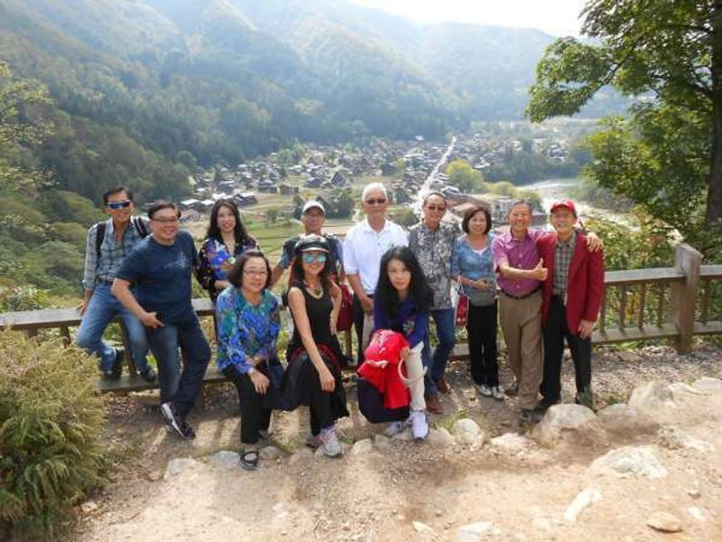 I had a tour guide service for 10 Malaysian group. The photo was taken at the observation deck of Shirakawago.