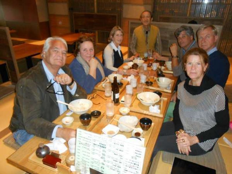 I carried out a Kanazawa tour guide for 6 people from Holland. It's me in the middle of the photo. We had a lunch at a Sushi restaurant at Omicho market.