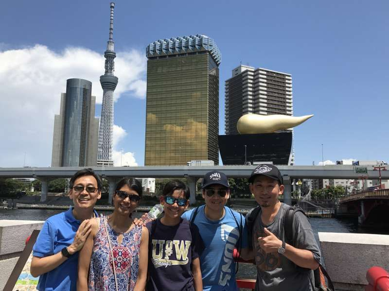 with Guests from USA at Sumida River in Asakusa