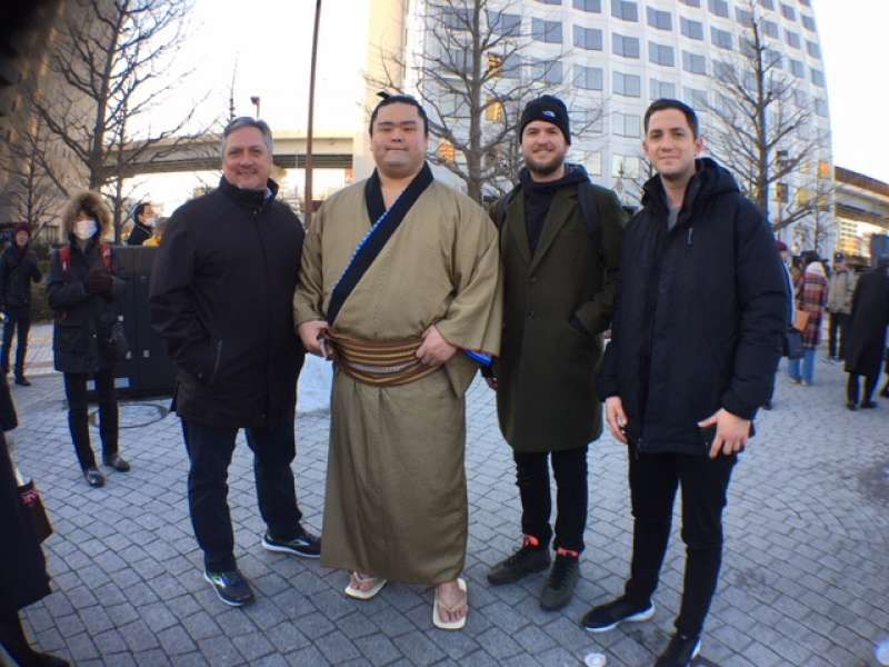 My lovely clients encountered a sumo fighter at the end of a fun Tokyo tour (North Carolina, USA)
