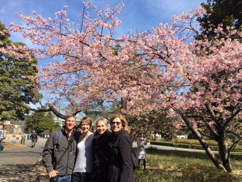 My lovely clients are happy with cherry blossoms in the Imperial Palace East Garden (Montana, USA)