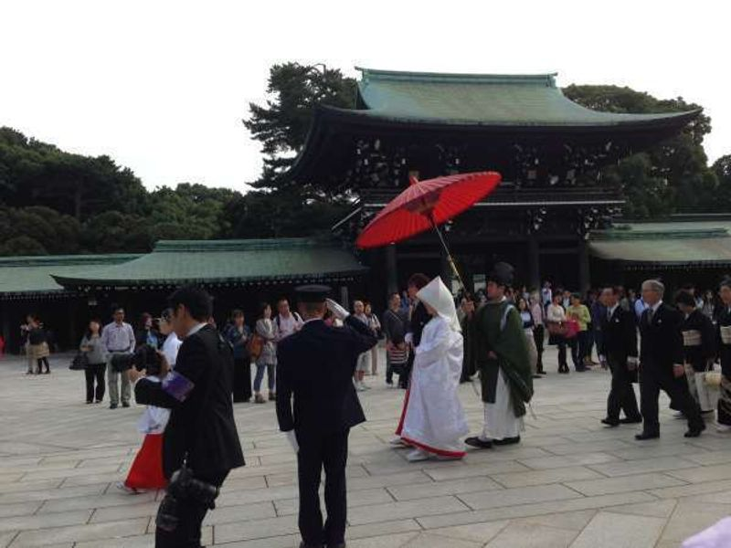 A Shinto wedding procession in Meiji shrine.