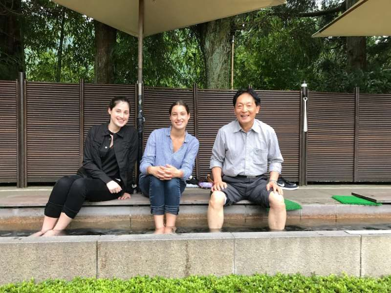 Foot-soaking-hot-spring in Hakone. There are a lot of nice museums as well  hot sporing resorts.