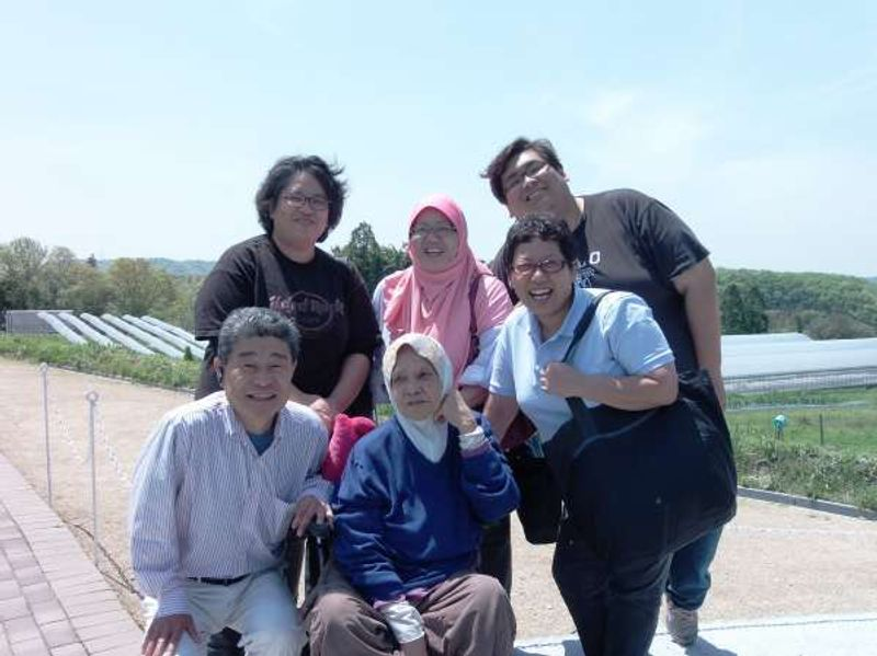 A family from Singapore at strawberry farm