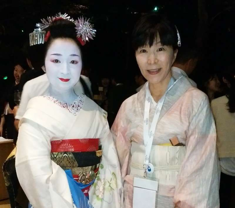 I met  Maiko-san (Geisha girl ) at a party.  She was cute and white.