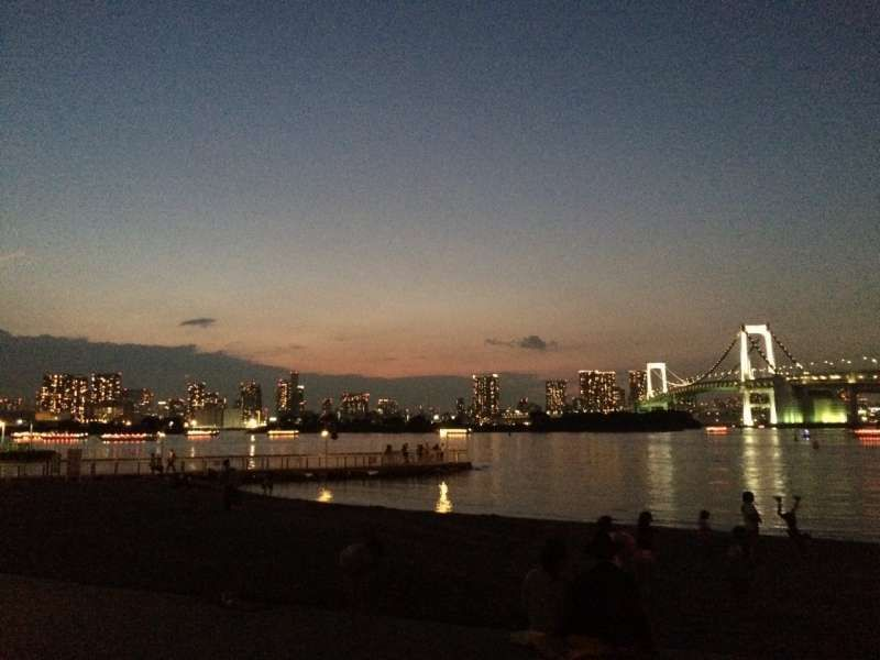 Beautiful night view at Odaiba beach(This place is designated as one of Tokyo Olimpics' game sites!)