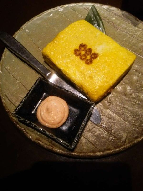 A Japanese omlet with nothing inside, this is what we call Dashimaki Tamago. Going very well with any kinds of alcohol such as beer, SAKE, Shochu...thus it is availble at any Izakaya drinking restaurant.