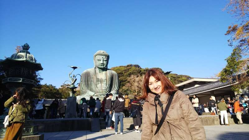 A giant open-air Buddha in kamakura. It can be a wonderful one-day excursion from Tokyo!