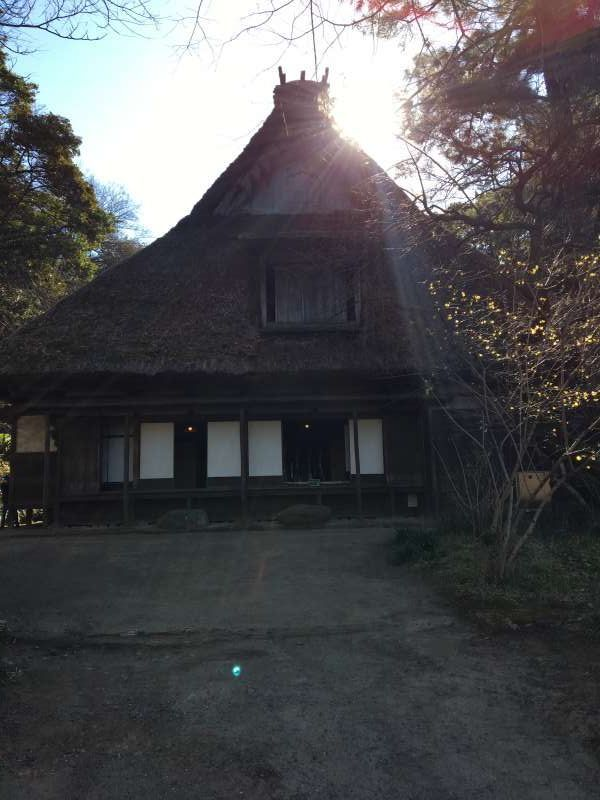 You can see a big thatched roof house in Sankeien garden in Yokohama.