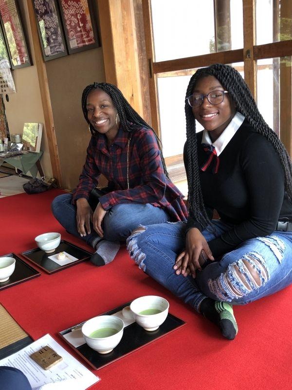 Lovely family from Las Vegas, the US in tea house of Hamarikyu Japanese style gardens