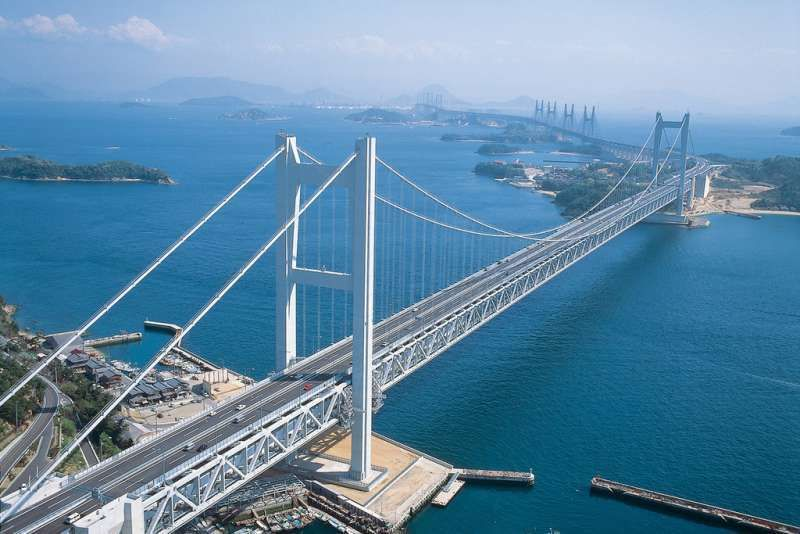 Breathtaking Seto Ohashi Bridge, connecting Honshu (main island) and Shikoku  This bridge crosses the  Seto Inland Sea. where