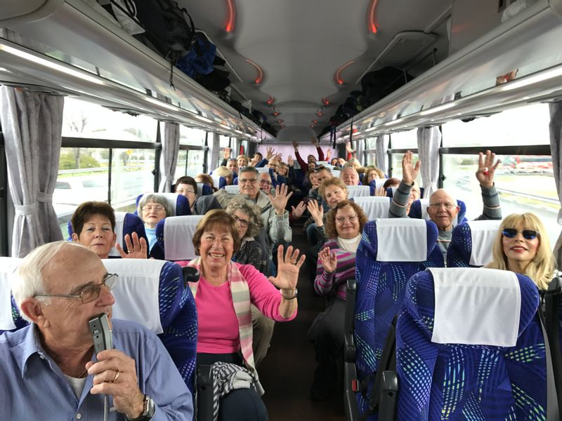 Go go guests in a bus