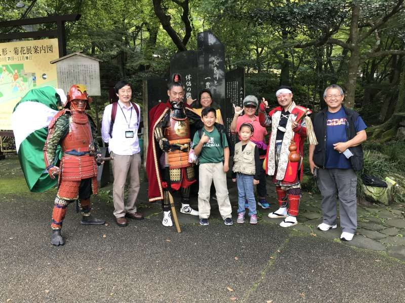With the third guests from Hawaii and Samurai characters in Gifu Park
