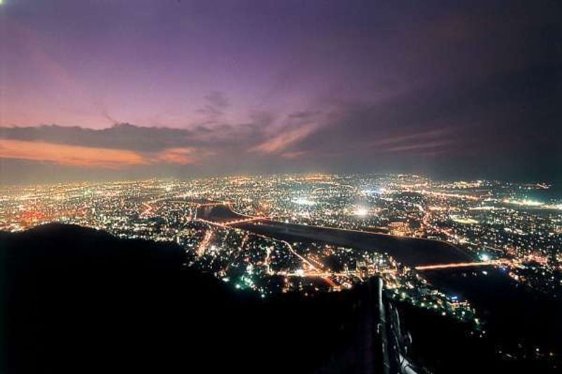 Fantastic night view of the Gifu city from the castle