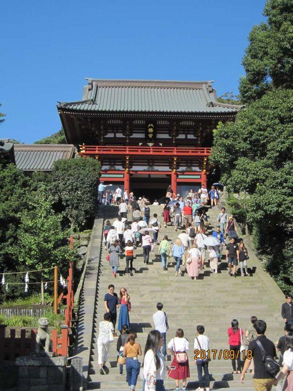 Kamakura Tsurugaoka Hachiman-gu shrine: Main shrine built by Minamoto Yoritomo in 1180.