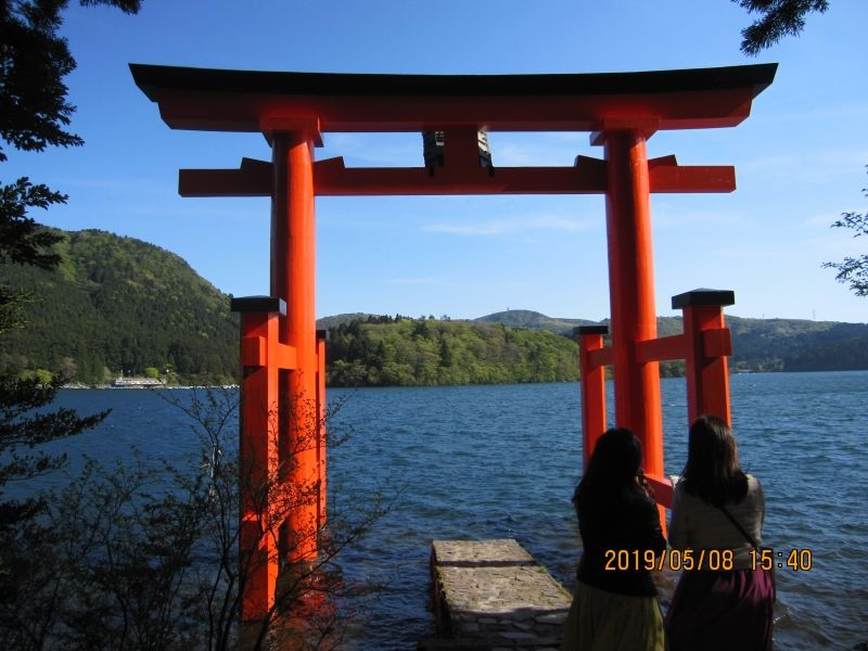 Tori Gate for Hakone Shrine: Hakone shrine was founded some 1000 years ago. This tori gate is a popular spot for taking picutures.