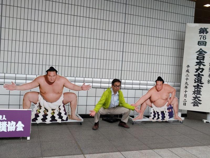 This is Ryogoku sumo stadium. I love  sports ,like baseball,football,swimming,sumo. I attend fitness club three times a week.