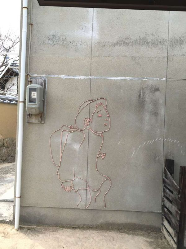 Drawing on the wall of a house