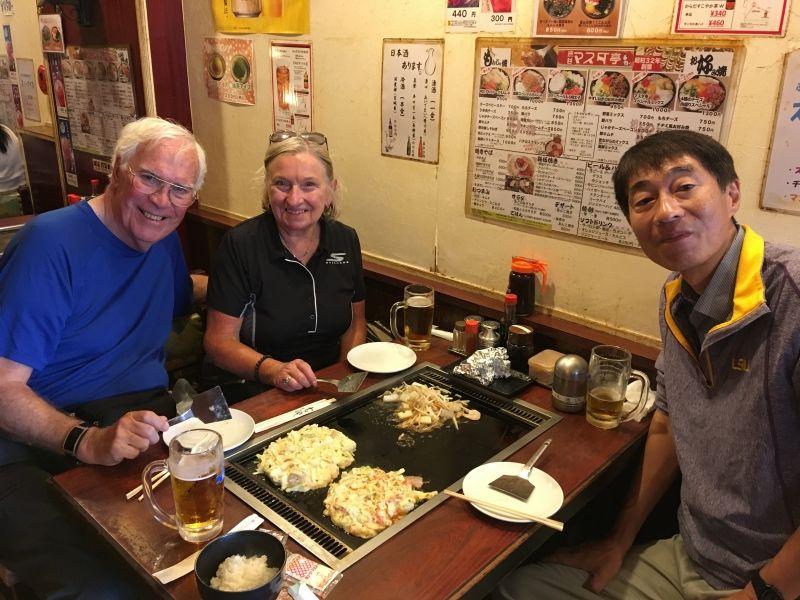 Eating Okonomiyaki with an American couple