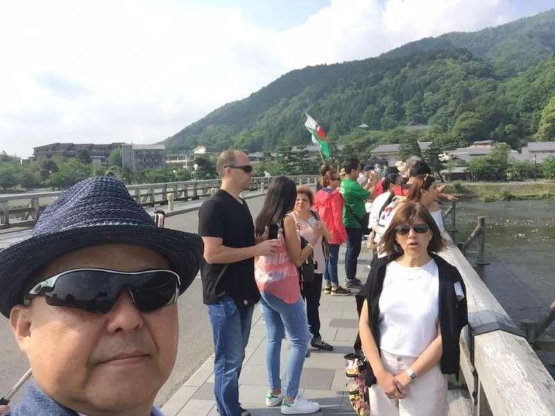 Togetsu Bridge in Kyoto Arashiyama area. Togetsu means Brige over the moon.